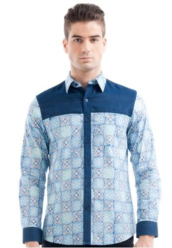 Bateeq Long Sleeve Cotton Cap Shirt Mix Denim