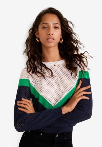 Mango blue and navy Openwork Knit Sweater F2972AA1B48764GS_1