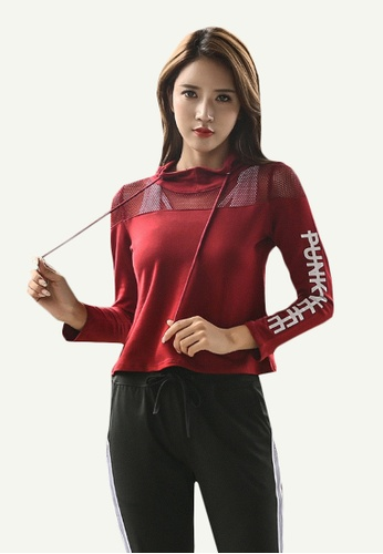 B-Code red ZYG5079-Lady Quick Drying Running Fitness Yoga Sports Bra, Hoodie and Leggings Three Pieces Set-Red 08FF4AA271542FGS_1