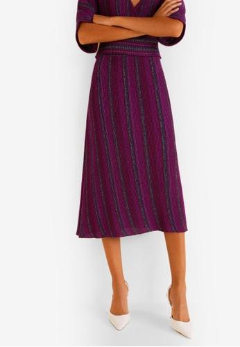 Mango purple Stripped Ribbed Skirt 4058DAA7B49D0DGS_1