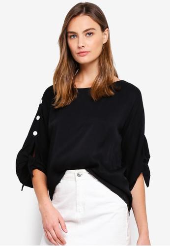 ESPRIT black Woven Short Sleeve Blouse 58290AA0902D35GS_1