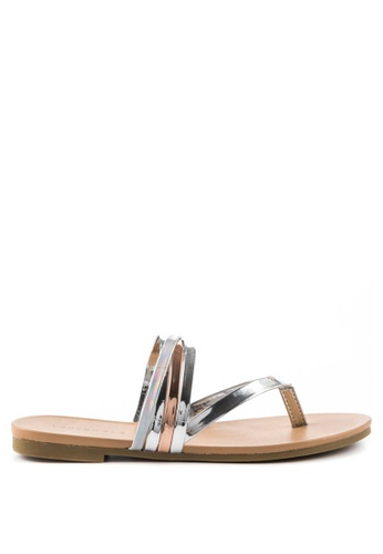 London Rag silver Sofia Toe Post Flat Sandals 321AESH6CB5E43GS_1