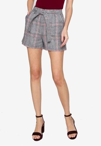 Hopeshow grey Plaid Linen Shorts with Tie Belt 92595AA3EFA991GS_1