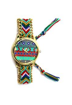 Ethnic Pattern-B Crochet Strap Watch 002