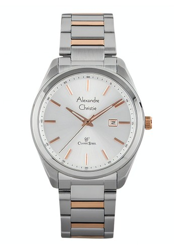 Alexandre Christie silver Alexandre Christie Jam Tangan Pria - Silver Rosegold - Stainless Steel - 8591 MDBTRSL 28CF0AC9063320GS_1