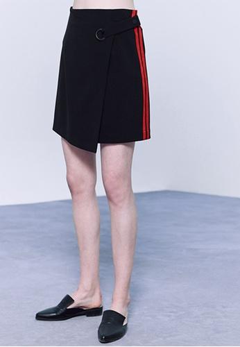 Hopeshow black Asymmetrical Skirt with Stripes HO442AA0FSE2SG_1