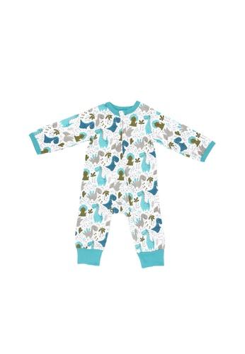 Baby Lovett white Dinosaur Paradise Two-Way Zipper Suit 4956FKA6D82B4FGS_1