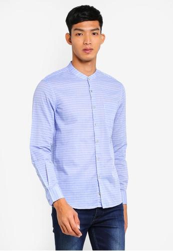 Electro Denim Lab 藍色 Voile Mandarin Shirt 76F53AA75A8C0FGS_1