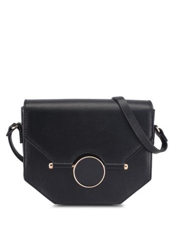 Something Borrowed black Textured Sling Bag BE055AC4C4688CGS_1