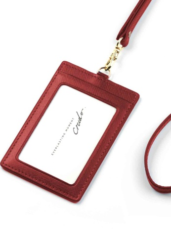 Crudo Leather Craft red Senz'altro Leather Badge Holder - Saffiano Wine Red 62999AC36C0866GS_1