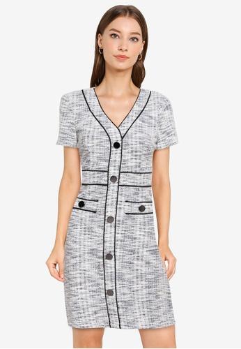 ZALORA WORK multi Contrast Piping Tweed Dress 62B90AAF692436GS_1