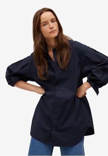 Mango blue Oversize Cotton Shirt 78DE0AAFF883A1GS_1