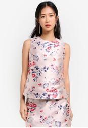 ZALORA pink Jacquard Sleeveless Top 384D8AA93EAB8FGS_1