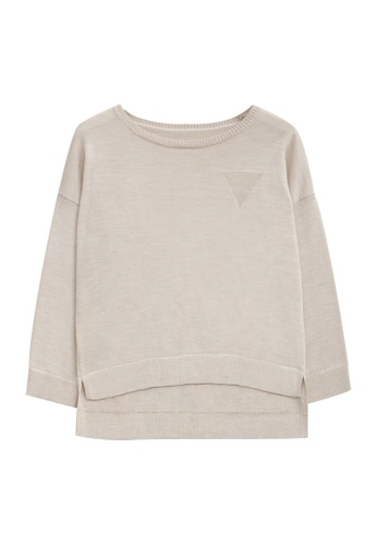 KLAPS beige Merino Sweater With High Low Hem 0460BAAC66E7B0GS_1