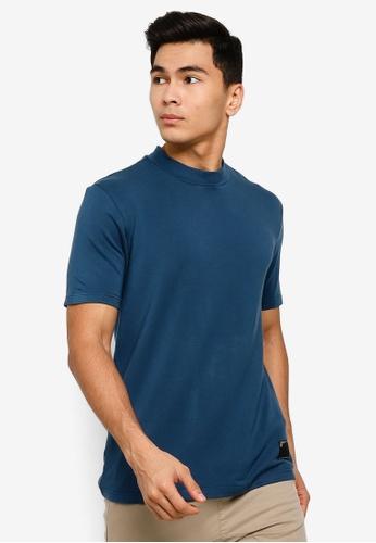 UniqTee navy High Neck Slim Fit T-Shirt FD463AAAE4E8EAGS_1