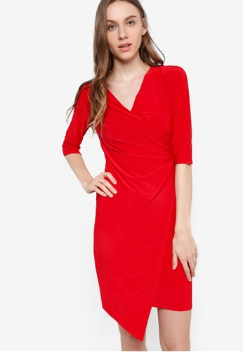 Wallis red Petite Red Wrap Dress WA800AA80GJJMY_1