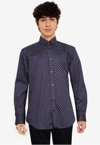 Ben Sherman blue Target Spot Print Shirt CA45DAAF3C0CD8GS_1