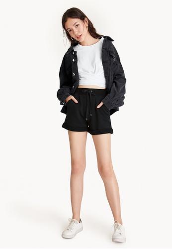 Pomelo black Cuffed Lounge Shorts - Black C411AAAFA35648GS_1