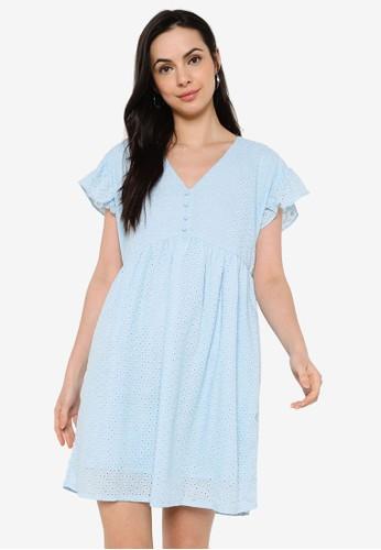 ZALORA BASICS blue Cotton Eyelet Babydoll Dress 24124AA927729AGS_1