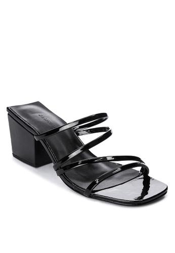 Janylin black Strappy Heeled Slides A7E02SH1BD34F1GS_1
