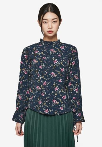 NAIN navy Floral Blouse NA323AA0S6ACMY_1