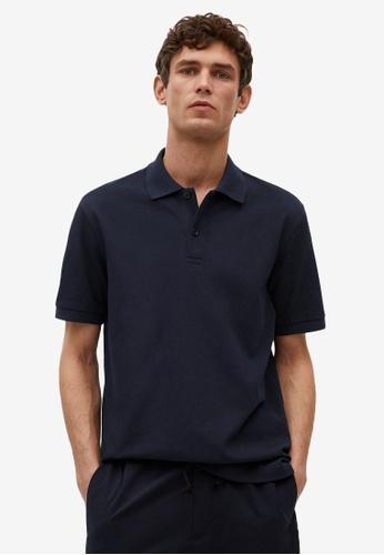 MANGO Man blue Technical Cotton Piqué Polo Shirt CE159AAEB6E685GS_1