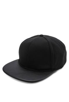 Black Perf PU Peak Cap