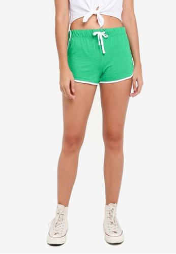 TOPSHOP green Sporty Neppy Runner Shorts D7E20AA46CE7FFGS_1