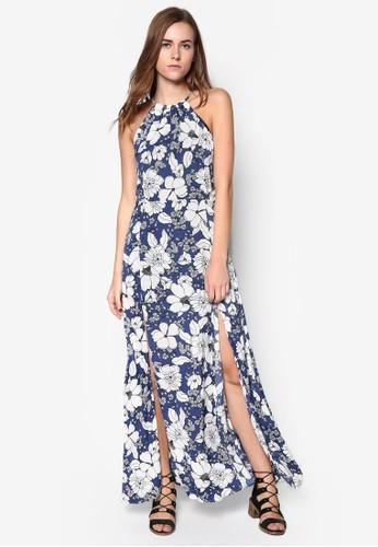 碎花開衩長洋裝, 服飾, zalora 包包評價夏日洋裝