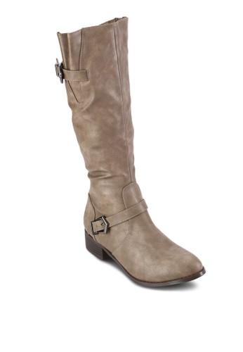 雙扣環帶騎士風中筒靴zalora 衣服評價, 女鞋, 靴子