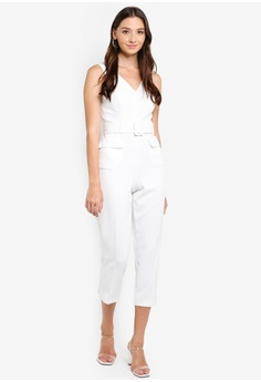 bc40f9a4be29 10% OFF Miss Selfridge Petite Ivory V-neck Belted Jumpsuit HK$ 600.00 NOW  HK$ 539.90 Available in several sizes