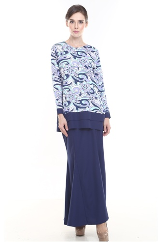 Alice Kurung in Navy from Rina Nichie Couture in blue_1