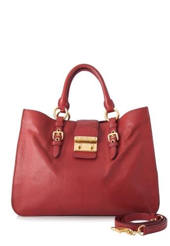 Miu Miu red Pre-Owned Miu Miu Madras Shopping Bag 5B95AAC10ED2D9GS_1