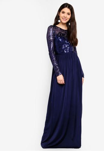 8b64a68d3e5 Shop Goddiva Open Back Long Sleeve Sequin Maxi Dress Online on ZALORA  Philippines