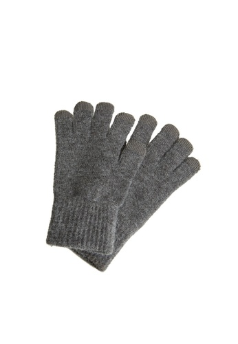 MANGO Man grey Touchscreen Knitted Gloves 14E0DAC14F4553GS_1
