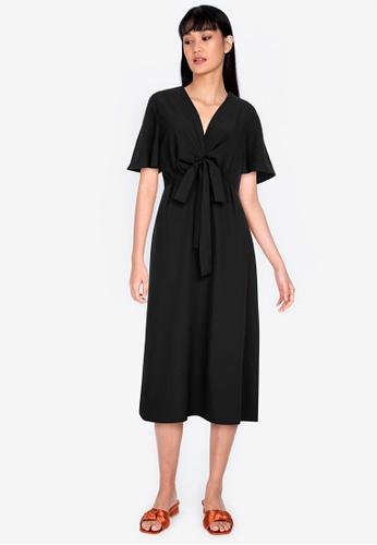 ZALORA BASICS 黑色 綁帶修身喇叭裙洋裝 2551AAA8977AFEGS_1