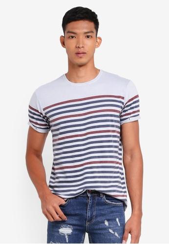 Indicode Jeans 藍色 短袖條紋T恤 CA8B0AA101451AGS_1