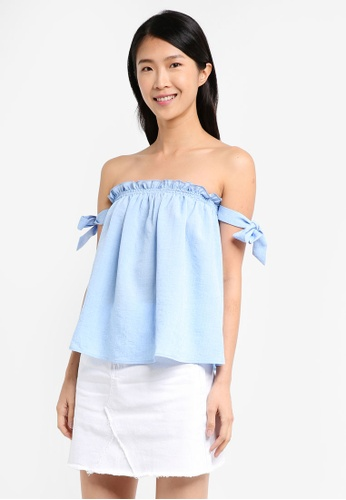 ZALORA blue Off Shoulder Top With Straps ED350AAE3E6DAEGS_1