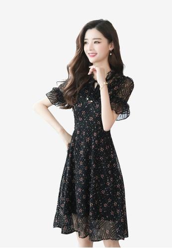 hk-ehunter multi Chiffon Printed Dress B6089AA43ABFB1GS_1