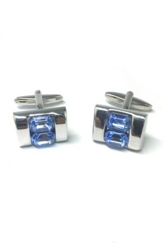 Splice Cufflinks blue and silver Blue Crystals Inserts Cufflinks SP744AC24FSTSG_1
