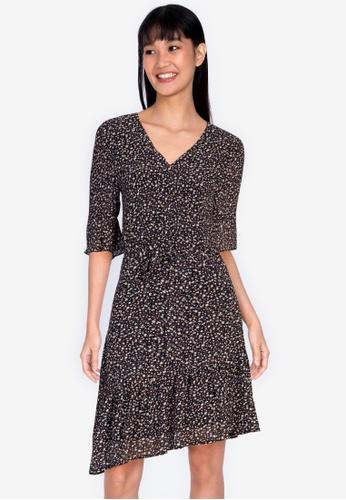 ZALORA BASICS 多色 Assymetric Drop Waist Mini Dress 993FAAACC76EB4GS_1
