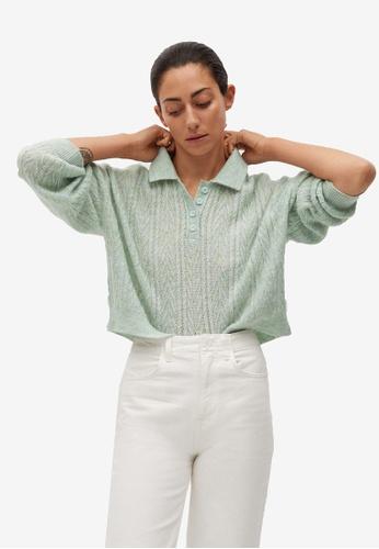 Mango green Contrasting Knit Polo Shirt 757DFAAE5E624EGS_1