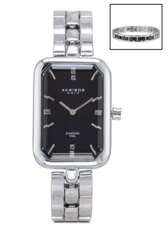 Akribos XXIV silver Diamond Watch And Bracelet Set D545EAC5AA0D5CGS_1