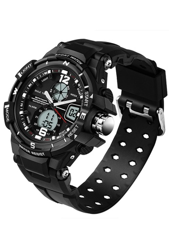 SANDA black SANDA 289 Waterproof Outdoor Multifunctional Sports Men's Quality Shockproof Digital Watch (Black) SA708AC0RXBBMY_1