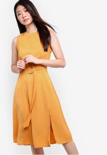 ZALORA yellow Collection Belted Midi Dress 6C00BAAC1275C2GS_1