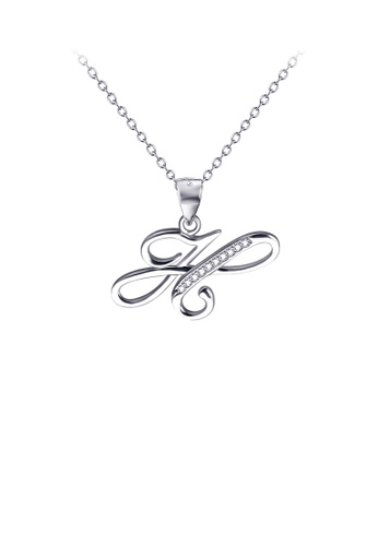 Glamorousky white 925 Sterling Silver Fashion Simple English Alphabet H Pendant with Cubic Zirconia and Necklace C6953AC70E6EF9GS_1