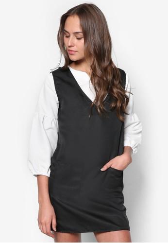 Juditzalora 包包評價h 撞色兩件式連身裙, 服飾, 短洋裝
