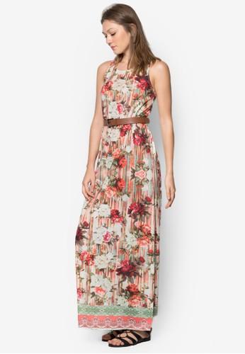 zalora開箱Albahaca 花卉腰帶長洋裝, 服飾, 夏日洋裝