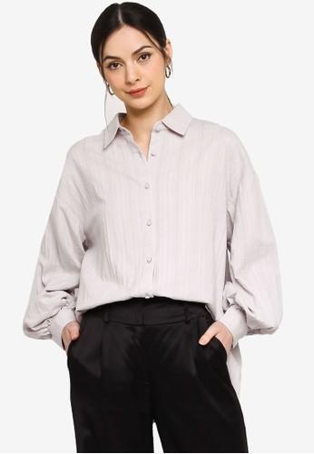 ZALIA BASICS grey Oversized Puff Sleeves Shirt FD570AAA17BE70GS_1
