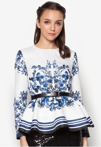 Floral Print Pzalora鞋子評價eplum Top, 服飾, 服飾